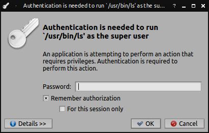 screenshot from 'pkexec ls'